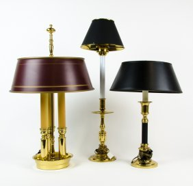 A Bouillotte Lamp And Two Brass Table Lamps
