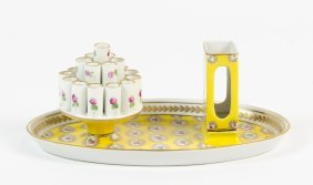 A Dresden Porcelain Smoking Set, Retailed By S. & B.