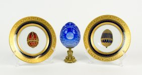 A Faberge Cut And Intaglio Glass Egg And Two Faberge