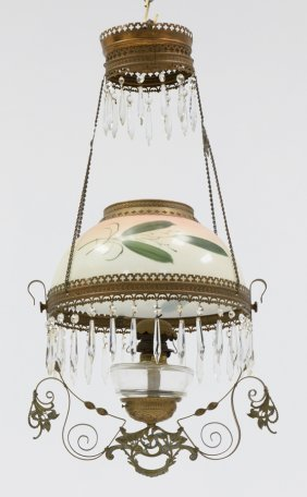 A Victorian Hanging Oil Lamp