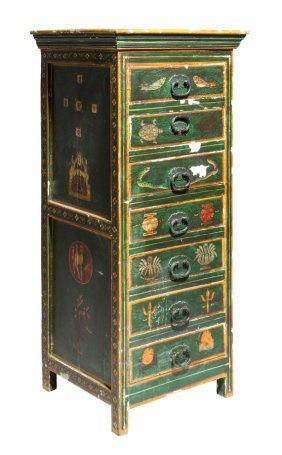 A Painted Tall Boy Chest In The Indian Style