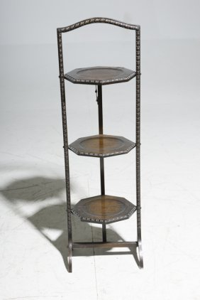 A Victorian Folding Three Tier Mahogany Cake Stand