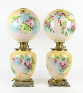 A Pair Of Victorian Glass Oil Lamps