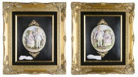 A Pair Of Continental Bisque Plaques In Shadowbox