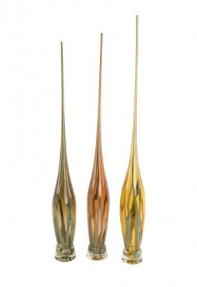 A Group Of Three Studio Glass Vases
