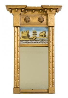 A Federal Style Eglomise Giltwood Mirror