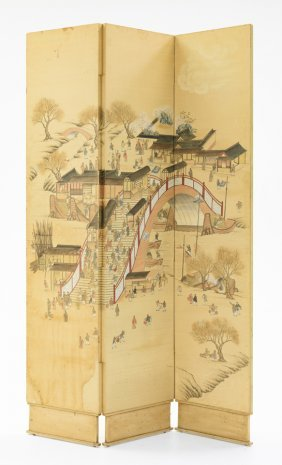 A Three-panel Room Screen In The Chinese Style