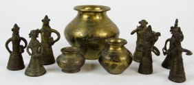 A Group Of Three Graduated Indian Brass Water Pots