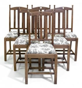 A Set Of Six Provincial 'heart' Carved Oak Dining