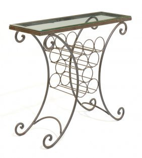 A Glass-top Side Table With Built-in Wine Rack
