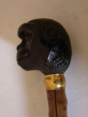 19thc Brigg Carved Wooden Monkey Walking Cane