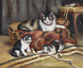 Oil On Board Painting, Kittens At Play