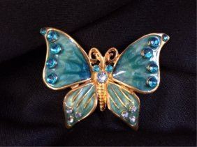 Vintage Enamel & Crystal Butterfly Brooch Pin