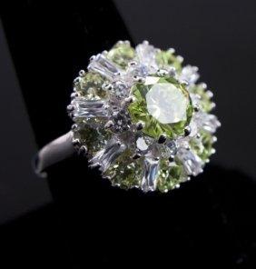 Sparkling Lime Citrine Floral Sterling Silver Ring