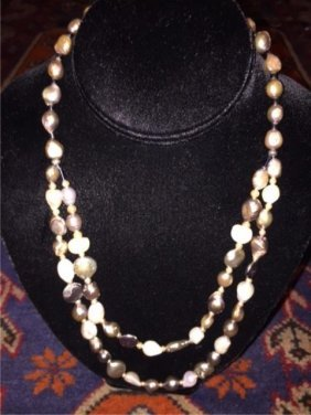 "Lavender Gray Freshwater Pearl 21"" Necklace"