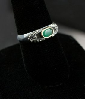 Vintage Emerald & Sterling Silver Ring