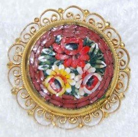 Vintage Italian Floral Micro Mosaic Brooch