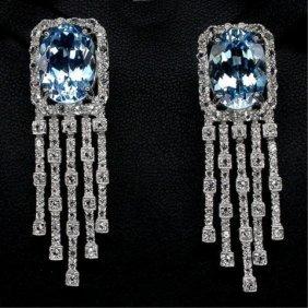 Blue & White Topaz Chandelier Earrings