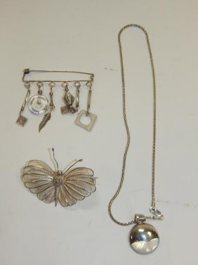 Sterling Silver Necklace And Pins
