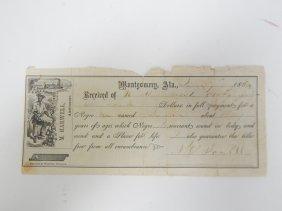 1864 Slave Document Receipt