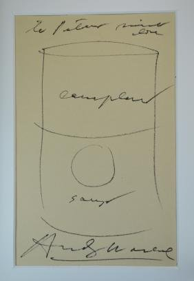 Andy Warhol Vintage Soup Can Drawing