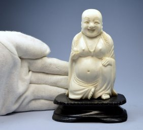 Chinese Antique Carved Ivory Seated Buddha