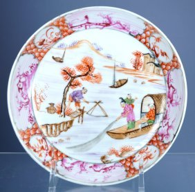 Chinese Mandarin Porc Figural Plate Ca. 18th C