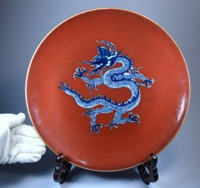 """""""chinese Large Porc Dragon Charger Ca 19th C"""