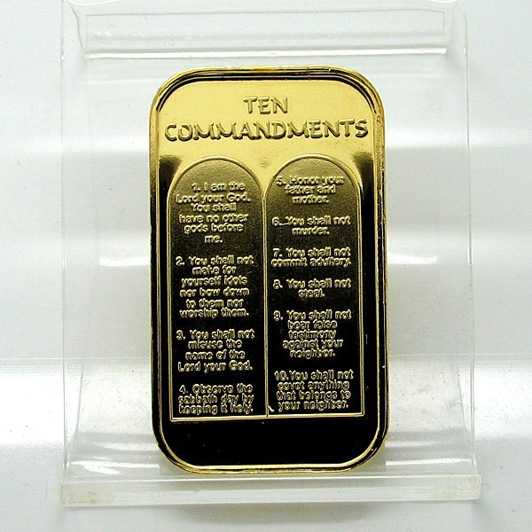 1 Oz Ten Commandments 999 Silver Bar Gilded Lot 15512217