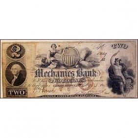 1852 $2 Mechanics Bank, Georgetown - F-vf