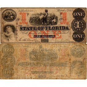 1863 $1 State Of Florida - Civil War Era - Fine