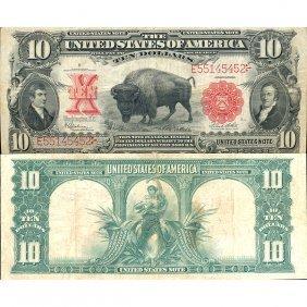 "1901 $10 Legal Tender - ""bison"" - Very Fine"