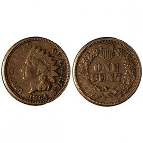 1864 Indian Head Cent Copper - Xf