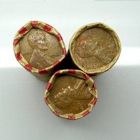 3 Rolls (150) Of (1909-1958) Lincoln Wheat Cents