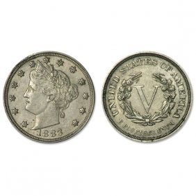 1883 Liberty Head V Nickel - No Cent - Au