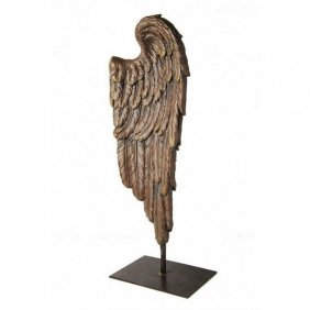 """Architectural Carved Angel Wing On Stand 24"""""""