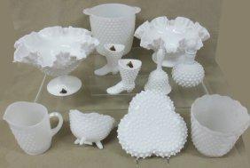 Collection Milk Glass Hobnail, Fenton, Orig. Labels