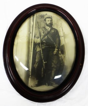 19th C. Portrait Of Man With Rifle And Bullets