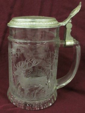 German Etched Glass Stein With Deer