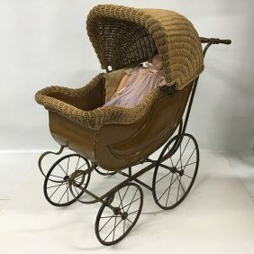Kestner 171 Doll And Antique Wicker Baby Carriage Buggy