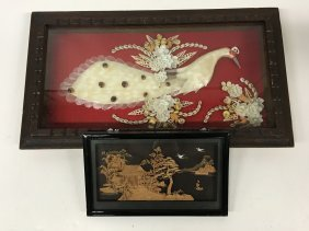 Chinese Inspired Framed Collage And Miniature Cork