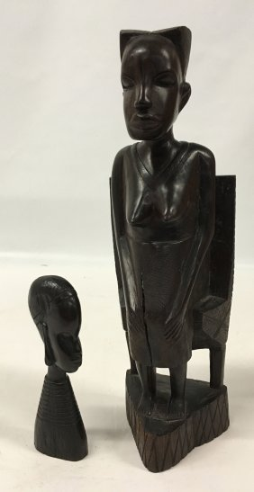 Two (2) Vintage African Ebony Wood Statues