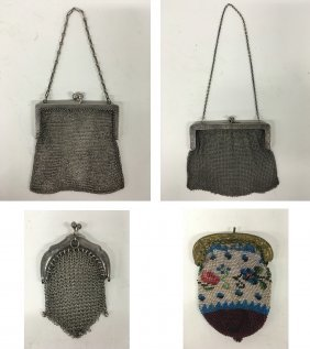 Three (3) Sterling Mesh Purses And Needlepoint Coin