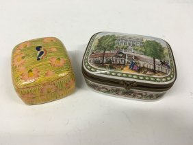 Hand Painted Porcelain Box And Wood Box