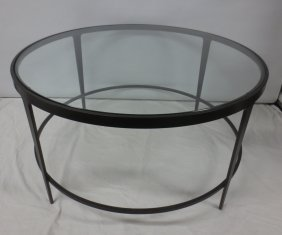 Round Danish Modern Cast Iron And Glass Coffee Table