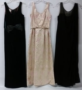 Three (3) Vintage Gowns, Ball Gown, Velvet And Black ,