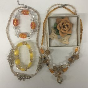Amber Crystal Beads With Vintage Leather Rose Pin