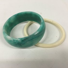Chinese Green Jade Bangle And Ivory Bangle