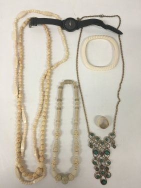 Ivory/bone Jewelry, Harem Necklace, And Movado Watch