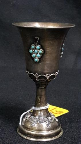 Sterling Silver Kiddush Cup With Mounted Gemstones